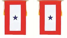 """One Blue Star Service Military Double Sided Flag 9""""x14"""" Window Hanging Banner"""