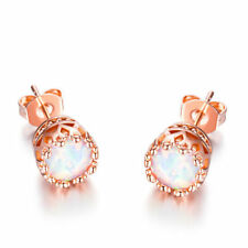 10K Rose Gold Plated Round Opal Created Stud Earring