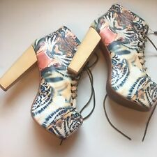 NEW Rare Jeffrey Campbell Tiger Print Lita Boot Vegan Size 9