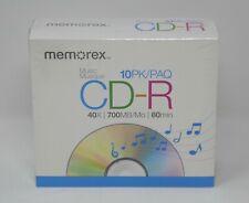 Memorex CD-R Music 10PK 40x 700MB/Mo 80min  SEALED