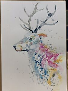 A3 Original Watercolour Stag By SkinnyDaz with Certificate of Authenticity