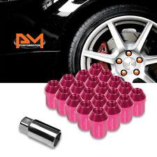 M12X1.5 Pink JDM Closed End Acorn Hex Wheel Lug Nuts+Extension 25mmx35mm 20Pc