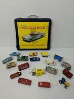 VINTAGE 1960's MATCHBOX LESNEY 18 CAR LOT INCLUDING CARRY CASE