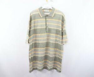 St Croix Mens Large Short Sleeve Striped Cotton Golfing Golf Polo Shirt Green