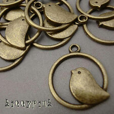 10 Antique Gold Bronze Bird Round Kitsch Charms Vintage