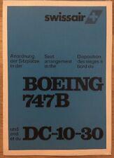 SWISSAIR AIRLINES B747-100 DC10 1980s BROCHURE SEAT CHART
