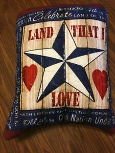"""New """"Land that I Love"""" Patriotic Quillow (Pillow w/ 6ft long quilt inside!)"""