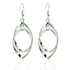 925 Sterling Silver Charm Leaf Spiral Dangle Hoop Earrings Women Lady Jewelry