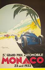 A3 SIZE - MONACO France 1933 Motor Racing Travel Retro Poster Print Art