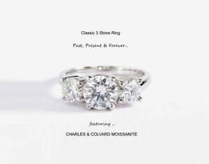 3.00 Carat Moissanite Forever Classic 3 Stone Ring (Charles & Colvard)