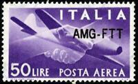 AMG-FTT - 1954 - Posta Aerea Lire 50 - Sassone n.22A - MNH - Firmato Diena