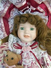 """Green Eyed Red Haired Doll 16"""" in Old Fashioned Print Dress Hat Pants Teddy Bear"""