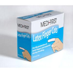 144 NEW MEDIUM LATEX FINGER COTS SEALED BOX OF 144
