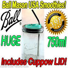 Smoothie Jar Cuppow Lid Ball Mason 750ml Jar Stainless Steel Straw