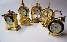 5 Miniaturuhren vergoldet, Sammeluhren