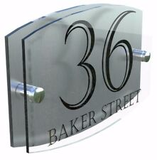 Modern House Sign Plaque Door Number Street Glass Effect Acrylic Name Ema5-24b
