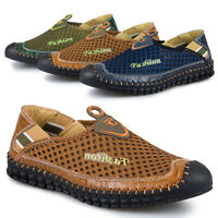Men's Driving Slip on Loafers Leather Breathable Casual Boat Shoes Moccasins