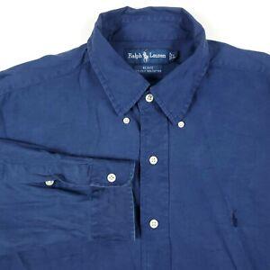Ralph Lauren Blake Solid Blue Pony Men's Silk Cotton Button Up Shirt Size Large