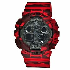 New Casio G-Shock GA-100CM-4A Red Camouflage Dial Men's Watch