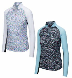 Greg Norman Womens Solar XP 1/4-Zip Martini Glass Cutaway Mock Pullover - 2020
