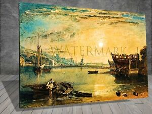 J M W Turner Teignmouth Devonshire Boat Sea FRAMED CANVAS PAINTING ART WALL 446