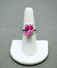 STERLING SILVER PINK TONED STONE W FLORAL ACCENT CZ STONES 6.5#FMG934