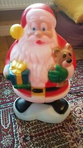 "General Foam 18"" Christmas Blow Mold SANTA CLAUS With Teddy Bear Present MadeUSA"