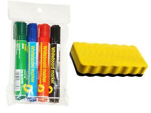 Whiteboard Stift Marker Set Grün Rot Blau Schwarz + magnetischer Tafelwischer