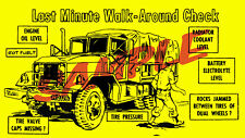 Military M35A2 Deuce 6X6 Multifuel Pre Run Checklist Decal AM General Kaiser New