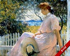 WOMAN SITTING ON FRONT PORCH RAIL IMPRESSIONIST PAINTING ART REAL CANVAS PRINT