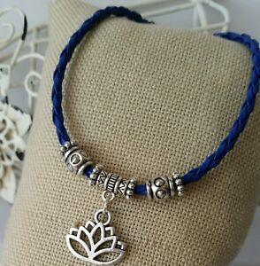 Retro Unisex Royal Blue Leather Bracelet Lotus Yoga Flower Dangle Charm Jewelry