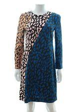 Diane Von Furstenberg Colour Block Leopard Print Cady Dress / Multi / RRP: £295