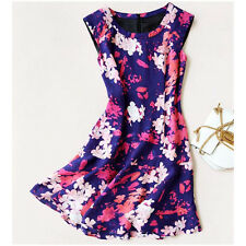 100% Pure Silk Women Cocktail Party Dress Purple Pink Floral AUS Size 8 Medium