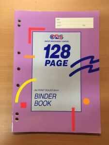 GNS A4 8mm Ruled Binder Book 128 Page 3 Pack misc