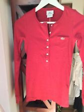 NEW Lacoste Women's Long Sleeve Cotton Knit Red Henley - 34
