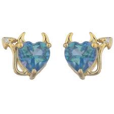 14Kt Gold Natural Blue Mystic Topaz & Diamond Devil Heart Stud Earrings