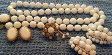 Vintage Signed VOGUE NECKLACE + Brooch + Earrings RHINESTONES White Glass 15331