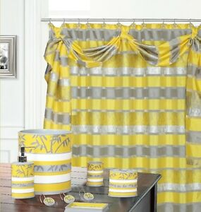 Venezia Yellow High Quality Scarf Shower Curtain Made with 100% polyester.  0921
