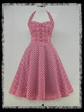 dress190 Rosa und Weiß Kariert 50er Rockabilly Abschlussball Kleid Größe 46-48