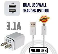 For Samsung,LG,Android 3.1A (2.1 & 1A)Travel Double Wall Charger Micro USB Cable