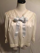 Vintage robe 1950s Barbizon Bed Jacket nylon lace embroidery Satin Sylfaire