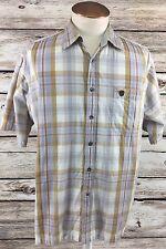 Phat Farm Mens Shirt Plaids & Checks 100% Cotton Short Sleeve Size L