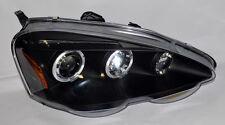 Black Projector Halo Angel Eye Headlights Pair for Acura RSX 02-04 Integra DC5