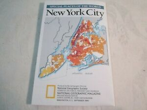 New York City Manhattan MAP - National Geographic Magazine Insert - Sept 1990