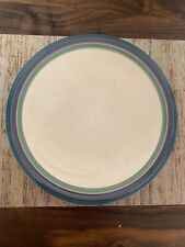 "Set Of 2 Pfaltzgraff Juniper Dinner Plates 10"" Banded Blue Green Purple EUC"