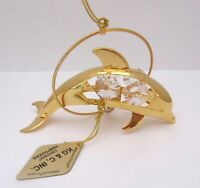 Ornament- DOLPHIN in Circle -Austrian Crystals 24K gold plated -clear crystals