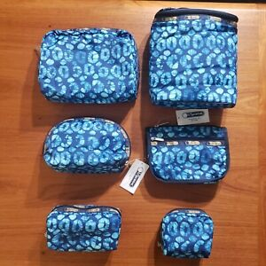 LeSportsac 6 Piece Set Tulum Lunch Bag Cosmetics Pouch Travel Large Small