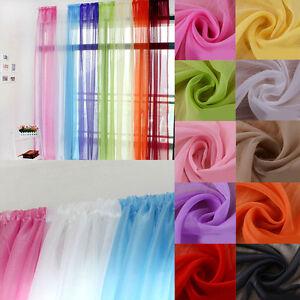 Plain Voile Curtain Panel Rod Pocket Net Slot Top Sheer Door Window Valances