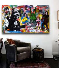 "Banksy Mr Brainwash Street Art Collage ""The Duel"" Grafitti Canvas Print 36 x 20"