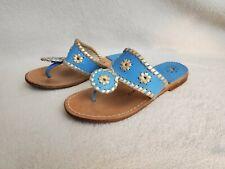 Jack Rogers Girls Turquoise Blue Gold Flip Flop Sandals 2